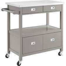 Kitchen Furniture Sydney Linon 464917gry01u Sydney Kitchen Cart In Gray W Stainless Steel Top