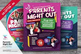 family fun day flyers flyer templates on creative market parents night out flyer templates