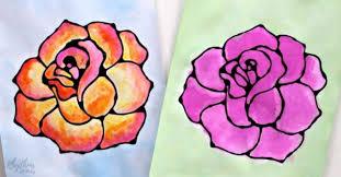 <b>Rose Watercolor</b> Resist Art Project | Rhythms of Play
