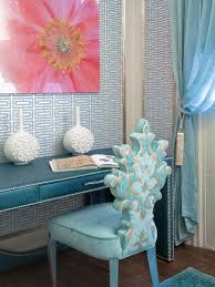 feminine and chic pink and blue home office blue home offices