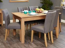 baumhaus mobel oak dining set with 6 flare back grey upholstered chairs baumhaus mobel solid oak mounted widescreen