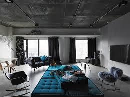 living room taipei woont love: ganna design living room with raw cement ceiling and herringbone wood floor aquamarine furnishings