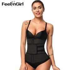<b>Feelingirl</b> Zipper&Hooks Women Latex <b>Steel Boned</b> Corset Waist ...