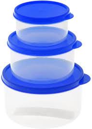 """<b>Набор пищевых контейнеров</b> """"Доляна"""", круглые, цвет: синий, <b>3</b> шт"""