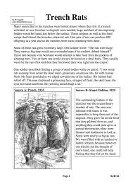 trench rats facts information gcse worksheet trench rats