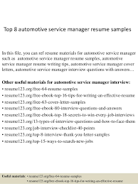 Combination Resume Example Automotive Service Manager p  diaster   Resume And Cover Letters