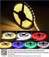 1pc RGB 300 <b>LED Strip</b> Light <b>5m</b> 60LEDs/M SMD5050 White Warm ...