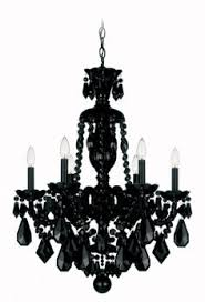 hamilton hamilton schonbek chandelier in a wet black finish with black handcut crystals lights 6 body height cm body length 22 cm arms 6 hang black crystal chandelier lighting