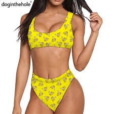 Yellow Banana <b>Print</b> Women <b>Summer</b> 2pcs Bathing Suit <b>Sexy Push</b> ...