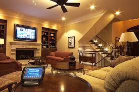 amazing flax media room with white lighting also brown wooden furnitures design amazing family room lighting