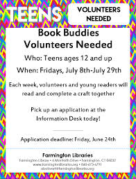 teens the farmington libraries book buddies volunteer flyer image click here for application