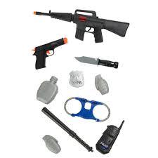 <b>10Pcs</b> Kids <b>Police</b> Gear Pretend Play <b>Set</b> Toy Gun Rifle Pistol Knife ...
