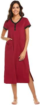 Ekouaer <b>Women's</b> Long Nightgown Cotton Nightshirt Button Front ...