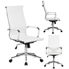 2xhome white executive ergonomic high back eames office chair ribbed pu leather swivel for manager conference bedroomattractive big tall office chairs furniture