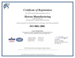 our iso certifications hytron manufacturing our iso certifications
