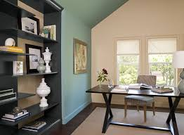 Cozy Home Office With Blue Paint Color Scheme  Benjamin Moore