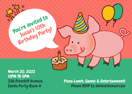 <b>Funny Pig</b> Birthday Party Invitation Template