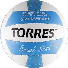 <b>Мяч волейбольный Torres</b> Beach Sand, белый, голубой, размер 5