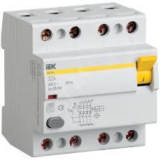 <b>Выключатель дифференциального тока</b> (УЗО) 4п 25А 30мА ВД1 ...