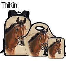 <b>THIKIN 3Pcs Set</b> Crazy Horse Printing School Bags for Kids Girls