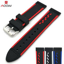 AOOW Double Colorful Watchband <b>20mm</b>,22mm,24mm Silicone ...