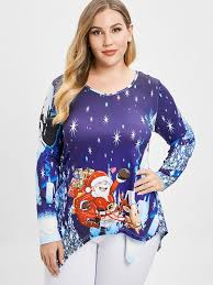 Plus Size <b>Christmas Santa</b> Claus Long Sleeves Tee-buy at a low ...