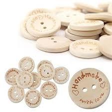 <b>100X Handmade</b> With Love Buttons Scrapbooking Sewing <b>Wood</b> ...