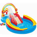 Надувной <b>детский бассейн INTEX</b> Игровой центр с горкой <b>радуга</b> ...