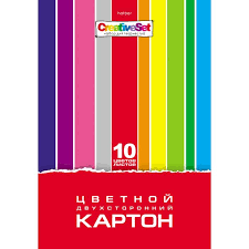 "Цвет.<b>картон</b> А4 <b>Хатбер</b> 10л 10цв двустор. папка ""<b>Creative Set</b>"""