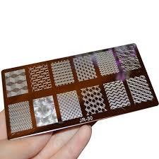<b>1Pc JR Nail Stamping</b> Plates Stainless Steel Image Konad Stamping ...