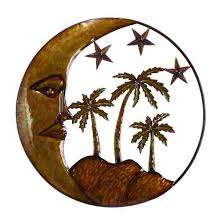 metal star wall decor:  moon with palms wall decor
