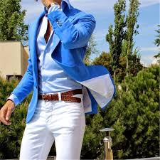 Summer Style <b>Custom Made Royal Blue</b> Coat White Pant Suit Blazer ...