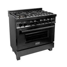 ZLINE 36 in. <b>Black</b> Stainless 4.6 cu. ft. 6 Gas Burner/<b>Electric</b> Oven ...