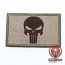 <b>Punisher Skull Embroidery</b> Tactical Army Badge <b>Patch</b> Green Brown ...