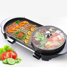 larger 2 in 1 220v <b>electric</b> hot pot oven <b>smokeless barbecue</b> ...