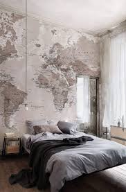room elegant wallpaper bedroom: soft neutrals work a dream in this bedroom this world map wallpaper adds a stylish and elegant look to any room wall paper can be a cheap and easy choice