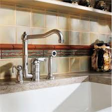 country kitchen column spout: single lever country kitchen faucet with sidespray and counter soaplotion dispenser