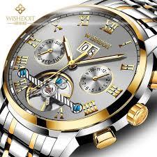 <b>2018 WISHDOIT Mechanical Watches</b> Mens Skeleton Tourbillon ...
