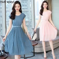<b>2019 New Korean</b> Vintage Boho Dresses <b>Summer</b> Plus Size Solid ...