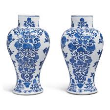 A PAIR OF <b>CHINESE BLUE</b> AND <b>WHITE</b> BALUSTER VASES, QING ...