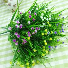 small artificial green plants grass fake floral plastic silk eucalyptus flowers for office hotel wedding table cheap office plants