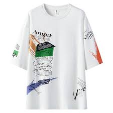 100% <b>Cotton Fashion Breathable</b> Men's Half-sleeve T-Shirt-White