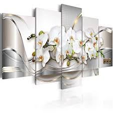 5 Panel Butterfly Orchid <b>Flowers Canvas</b> Print Wall <b>Art Painting</b> ...