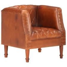 Shop vidaXL <b>Tub Chair</b> Brown/Black/Gray <b>Real</b> Goat Leather ...