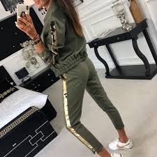 liva girl Glitter Tracksuit Women Set Autumn <b>Two Piece Set Top</b> And ...