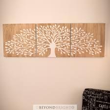 tree wall decor art youtube: tree of life  x cm reverse white  panels triptych wall art