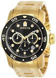 Invicta <b>Men's</b> 0072 Pro Diver Collection Chronograph <b>18k Gold</b> ...