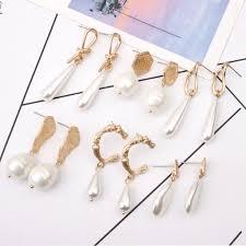<b>Vintage Irregular Geometric Pearl</b> Earrings For Women Jewelry ...