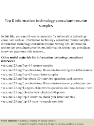 top  information technology consultant resume samplestop  information technology consultant resume samples in this file  you can ref resume materials