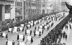 Women's suffragists parade in